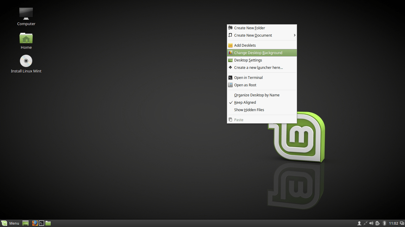Linux Mint 18 Desktop Context Menu