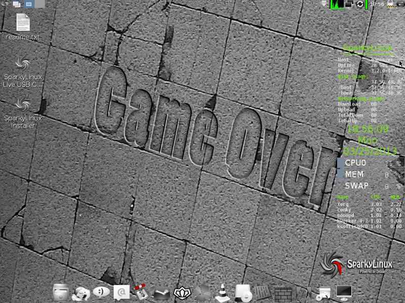 Sparky Linux GameOver Desktop