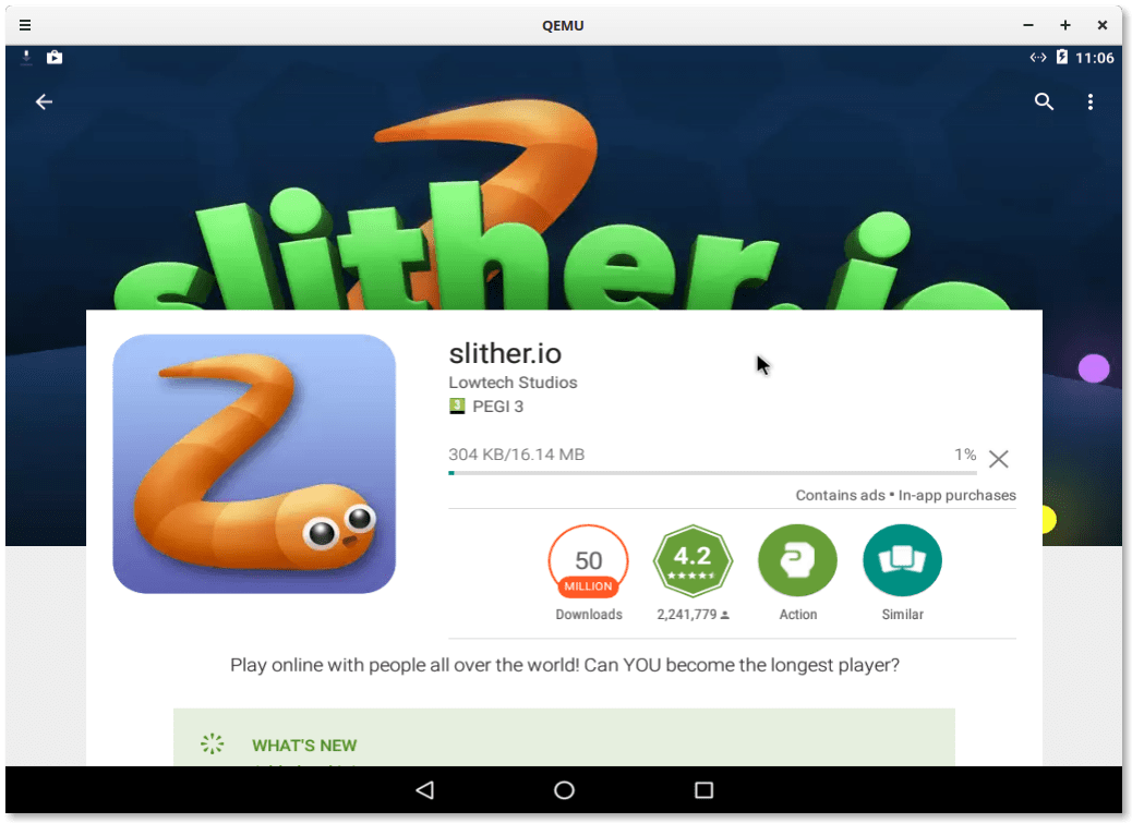 Downloading Sliter.io game from the Play Store