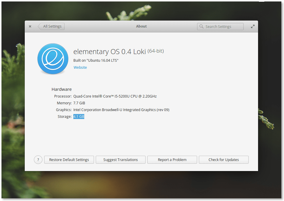 Elementary OS 0.4 Loki About Window