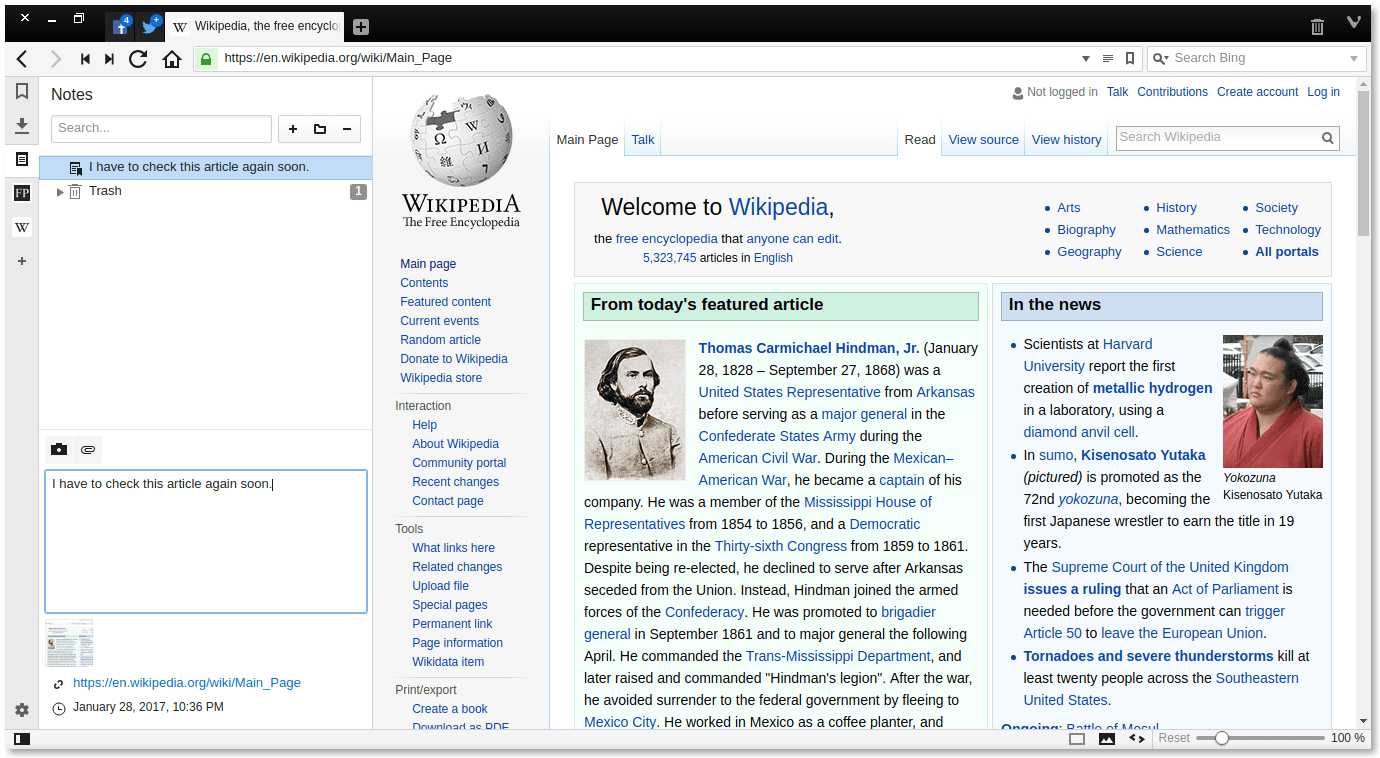 Vivaldi Browser Notes