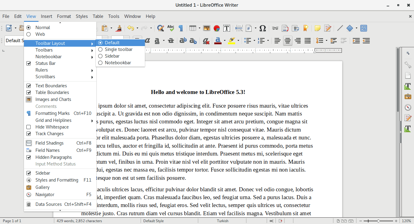LibreOffice 5.3 Toolbar Layout Options