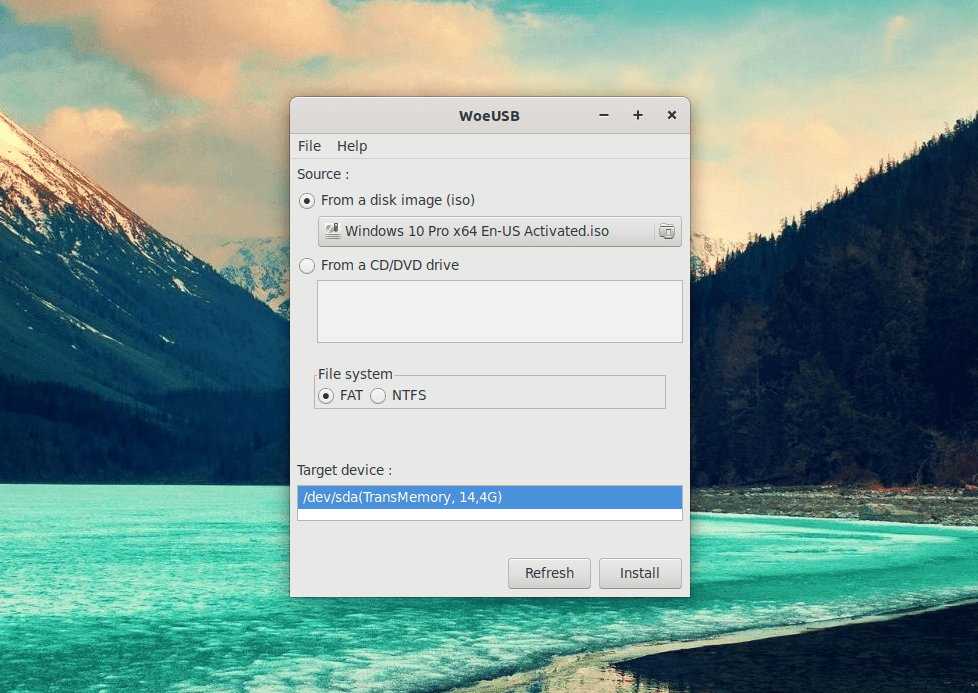 Burn Windows on USB from Linux via WoeUSB 7